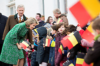 King Philippe and Queen Mathilde of Belgium during a visit of a farm in Piétrebais - Belgium