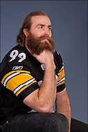 Brett Keisel leaning on his elbow.