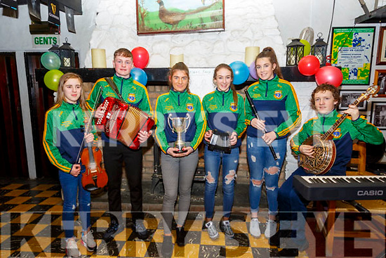 Scor Na nOg: The Finuge GAA club's Ceol Uirlise group that won the All_Ireland at the INEC, Killarney on Saturday last. L-R: Caoimhe Laide, Mikey Fealey, Aideen  Cronin, Daibhin Laide, Kyra O'Sullivan  & Kieran Mackessy.