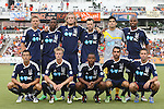 12 June 2013: Carolina's starters. Front row (l to r): Kupono Low, Justin Willis, Nick Millington (GUY), Austin Da Luz, Brian Shriver. Back row (l to r): Floyd Franks, Ty Shipalane (RSA), Paul Hamilton (CAN), Zack Schilawski, Akira Fitzgerald, Julius James (TRI). The North American Soccer League's Carolina RailHawks hosted Major League Soccer's CD Chivas USA at WakeMed Stadium in Cary, NC in a 2013 Lamar Hunt U.S. Open Cup fourth round game. Carolina won the game 3-1 after extra time.