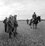 Hare Coursing...On a bitterly cold February day members of the Swaffham Coursing Club meet near Narborough, Norfolk. The judge on horseback monitors each course. He carries with him a small red and white flag, which he waves to indicate to the flagman which greyhound has won. The flagman then flies the appropriate coloured flag...Hunting with Hounds / Mansion Editions (isbn 0-9542233-1-4) copyright Homer Sykes. +44 (0) 20-8542-7083. < www.mansioneditions.com >...