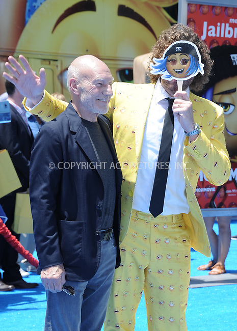 www.acepixs.com<br /> <br /> July 23 2017, LA<br /> <br /> Sir Patrick Stewart (L) and T.J. Miller arriving at the premiere of 'The Emoji Movie' at the Regency Village Theatre on July 23, 2017 in Westwood, California. <br /> <br /> By Line: Peter West/ACE Pictures<br /> <br /> <br /> ACE Pictures Inc<br /> Tel: 6467670430<br /> Email: info@acepixs.com<br /> www.acepixs.com