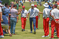 Jordan Spieth (USA) makes his way to the first tee during round 1 of the AT&T Byron Nelson, Trinity Forest Golf Club, at Dallas, Texas, USA. 5/17/2018.<br /> Picture: Golffile | Ken Murray<br /> <br /> <br /> All photo usage must carry mandatory copyright credit (© Golffile | Ken Murray)