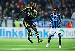 Stockholm 2014-04-16 Fotboll Allsvenskan Djurg&aring;rdens IF - AIK :  <br /> AIK:s Henok Goitom klackar bollen<br /> (Foto: Kenta J&ouml;nsson) Nyckelord:  Djurg&aring;rden DIF Tele2 Arena AIK