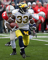 November 22, 2008. Michigan kick returner Boubacar Cissoko. The Ohio State Buckeyes defeated the Michigan Wolverines 42-7 on November 22, 2008 at Ohio Stadium, Columbus, Ohio.