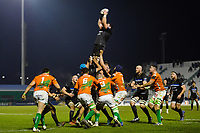 James Phillips of Bath Rugby wins the ball at a lineout. European Rugby Champions Cup match, between Benetton Rugby and Bath Rugby on January 20, 2018 at the Municipal Stadium of Monigo in Treviso, Italy. Photo by: Patrick Khachfe / Onside Images
