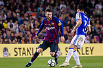 Lionel Messi of FC Barcelona (L) in action against Juanmi Jimenez of Real Sociedad (R) during the La Liga match between Barcelona and Real Sociedad at Camp Nou on May 20, 2018 in Barcelona, Spain. Photo by Vicens Gimenez / Power Sport Images