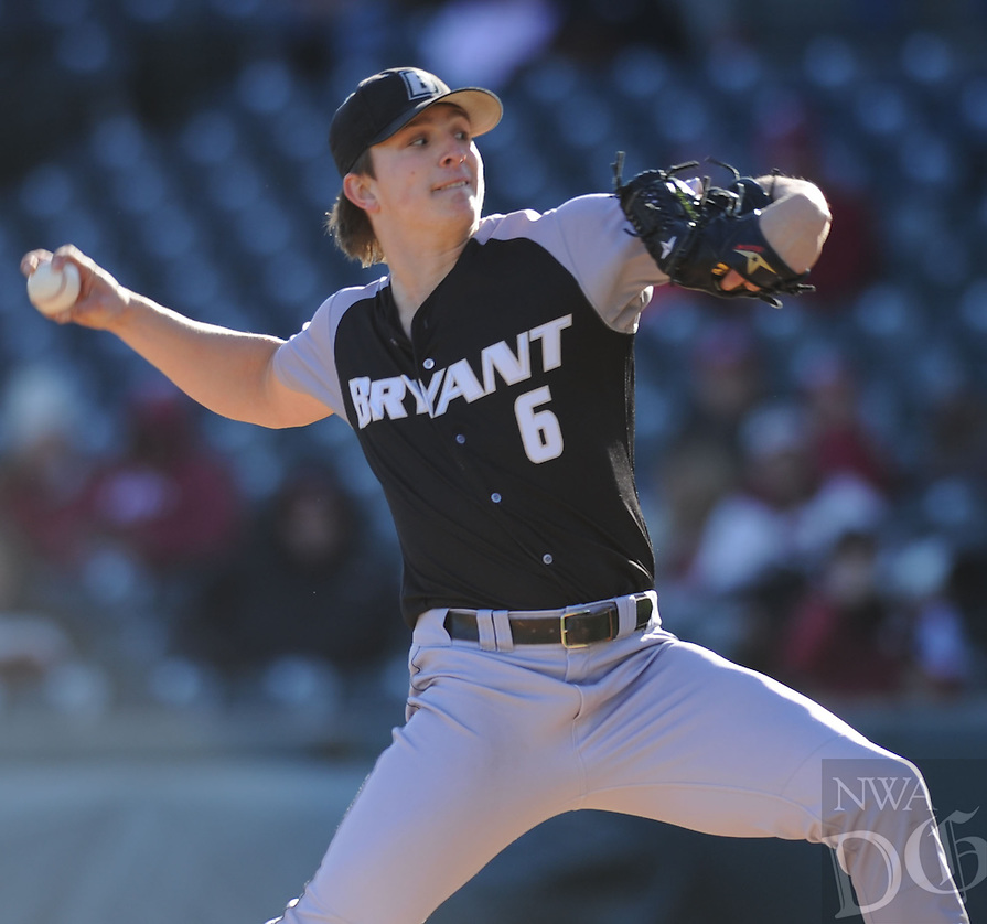 NWA Democrat-Gazette/ANDY SHUPE<br /> Bryant starter James Karinchak delivers a pitch to the plate against Arkansas Friday, Feb. 24, 2017, during the third inning at Baum Stadium in Fayetteville. Visit nwadg.com/photos to see more photographs from the game.