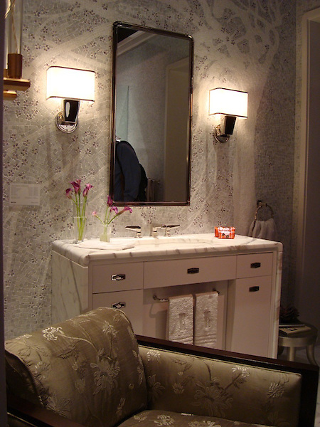 Cherry Blossom mural shown in Carrara, Thassos, Lavendar Mist, and Desert Pink is part of the Ann Sacks Beau Monde collection sold exclusively at www.annsacks.com