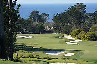 A general view of the 1st hole at Monterey Peninsula during the first round of the AT&T Pro-Am, Pebble Beach Golf Links, Monterey, California, USA. 06/02/2020<br /> Picture: Golffile | Phil Inglis<br /> <br /> <br /> All photo usage must carry mandatory copyright credit (© Golffile | Phil Inglis)