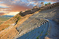 The Theatre of Pergamon ( Bergama ) is one of the steepest theatres in the world. Capable of holding a 10,000 people audience it was constructed in the 3rd century BC and underwent changes in the Roman period of Emperor Caracalla ( 2111-217 AD). Pergamon (Bergama) Archaeological Site, Turkey