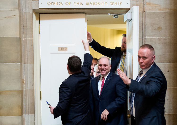 UNITED STATES - MAY 4: House Majority Whip Steve Scalise, R-La., leads a group of Republican members of Congress to the House floor for the votes on repeal and replace of Obamacare on Thursday, May 4, 2017. The members met with White House Chief of Staff Reince Priebus in Scalise's office before the vote. (Photo By Bill Clark/CQ Roll Call)