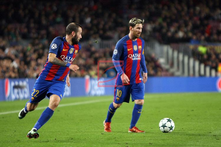 UEFA Champions League 2016/2017 - Matchday 6.<br /> FC Barcelona vs VfL Borussia Monchengladbach: 4-0.<br /> Aleix Vidal &amp; Lionel Messi.