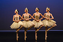 """London, UK. 14.02.2019. Elmhurst Ballet Company present their inaugural performance, """"Origins"""", in the Lilian Baylis Studio at Sadler's Wells Theatre. The piece shown is: Swan Lake Suite from Act II.  The cygnets are: Nina Avrillon-Rivault, Samantha Clay, Ellie Hennequin, Theresa Tan. Photograph © Jane Hobson."""