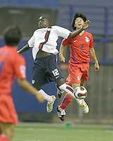 Josmer Altidore and Chui Soon Shin clash in mid air. Republic of Korea met USA in the second game of a doubleheader at the Olympic stadium, Montreal, Canada on June 30 2007, in the opening game of the FIFA U20 World. The game ended in a 1-1 tie.