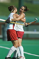 6 November 2007: Stanford Cardinal Xanthe Travlos (right) and Bailey Richardson (left) during Stanford's 1-0 win against the Lock Haven Lady Eagles in an NCAA play-in game to advance to the NCAA tournament at the Varsity Field Hockey Turf in Stanford, CA.
