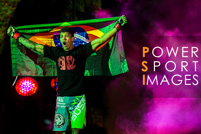 Adriano Moraes of Brazil getting into the ring for his Interim Flyweight combat against Tilek Batyrov of Kyrgyzstan as part of the One Championship - Heroes of the World on August 13, 2016 at The Venetian Macao Cotai Arena  in Macau, China. Photo by Marcio Machado / Power Sport Images