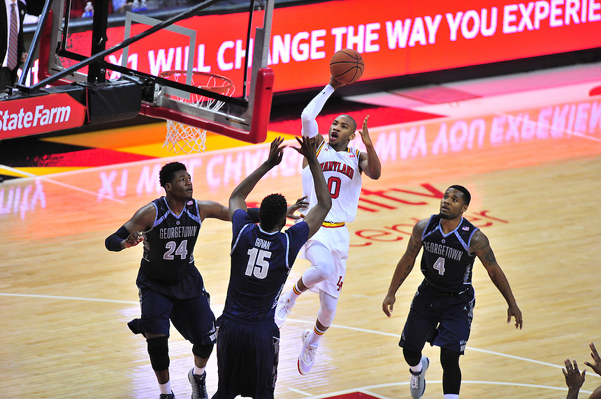 Terrapins Rasheed Sulaimon shots a running layup.  Maryland defeated Georgetown 75-71 during a game at Xfinity Center in College Park, MD on Wednesday, November 17, 2015.  Alan P. Santos/DC Sports Box