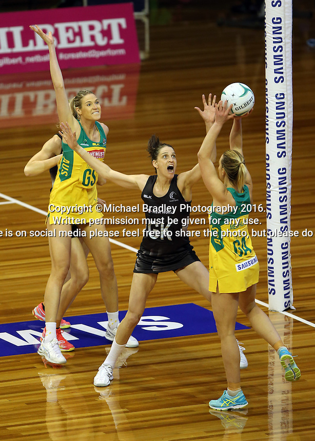 12.10.2016 Silver Ferns Anna Harrison in action during the Silver Ferns v Australia netball test match played at the Silver Dome in Launceston in Australia.. Mandatory Photo Credit ©Michael Bradley.