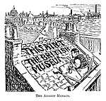 The Airship Menace. (a WW1 cartoon shows a London man painting the notice 'This Aint The British Museum' on his roof)