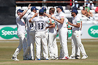 Jamie Porter of Essex celebrates with his team mates after taking the wicket of Ed Byrom during Essex CCC vs Somerset CCC, Specsavers County Championship Division 1 Cricket at The Cloudfm County Ground on 27th June 2018