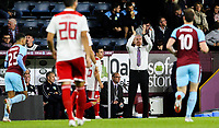 Burnley manager Sean Dyche applauds some good play<br /> <br /> Photographer Alex Dodd/CameraSport<br /> <br /> UEFA Europa League - UEFA Europa League Qualifying Second Leg 2 - Burnley v Olympiakos - Thursday August 30th 2018 - Turf Moor - Burnley<br />  <br /> World Copyright © 2018 CameraSport. All rights reserved. 43 Linden Ave. Countesthorpe. Leicester. England. LE8 5PG - Tel: +44 (0) 116 277 4147 - admin@camerasport.com - www.camerasport.com