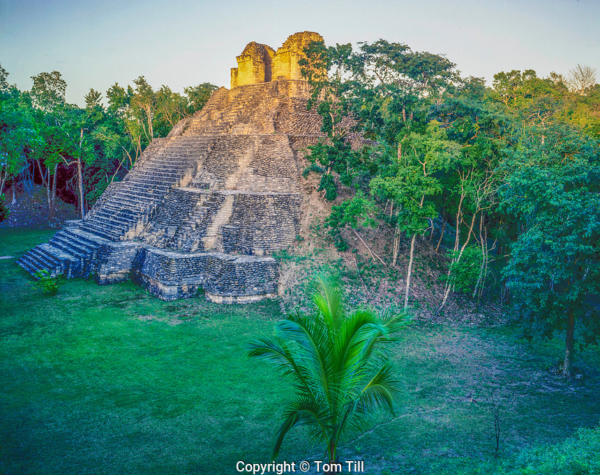 Temple of the Cormorant at sunset, Dzibance Mayan ruin. Quintana Roo State, Yucatan, Mexico, Pre and Post Classic Mayan Ruins
