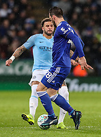Manchester City's Kyle Walker competing with Leicester City's Christian Fuchs<br /> <br /> Photographer Andrew Kearns/CameraSport<br /> <br /> English League Cup - Carabao Cup Quarter Final - Leicester City v Manchester City - Tuesday 18th December 2018 - King Power Stadium - Leicester<br />  <br /> World Copyright &copy; 2018 CameraSport. All rights reserved. 43 Linden Ave. Countesthorpe. Leicester. England. LE8 5PG - Tel: +44 (0) 116 277 4147 - admin@camerasport.com - www.camerasport.com
