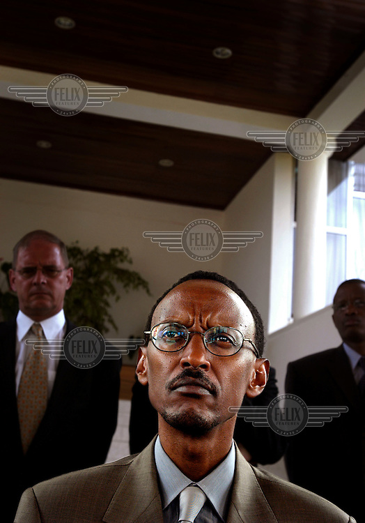President Paul Kagame on the stairs of his presidential office. His party, the FPR, has ruled the country since the genocide in 1994. Kagame was re-elected with an overwhelming majority in August 2003.