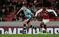 Blackpool U18's Nathan Shaw competing with Arsenal U18's James Olayinka<br /> <br /> Photographer Andrew Kearns/CameraSport<br /> <br /> Emirates FA Youth Cup Semi- Final Second Leg - Arsenal U18 v Blackpool U18 - Monday 16th April 2018 - Emirates Stadium - London<br />  <br /> World Copyright &copy; 2018 CameraSport. All rights reserved. 43 Linden Ave. Countesthorpe. Leicester. England. LE8 5PG - Tel: +44 (0) 116 277 4147 - admin@camerasport.com - www.camerasport.com