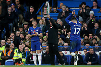 Mateo Kovacic of Chelsea is replaced by Ross Barkley in the second half during Chelsea vs Everton, Premier League Football at Stamford Bridge on 11th November 2018