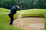 Vijay Singh chips out of the bunker on the 1st hole during the final round of the BMW PGA Championship at Wentworth Club, Surrey, England 27th May 2007 (Photo by Eoin Clarke/NEWSFILE)