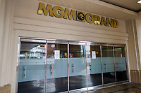 Las Vegas NV - March 18: MGM Grand Resorts along the Las Vegas Strip will close temporarily in Las Vegas, Nevada on March 18, 2020. <br /> CAP/DAM<br /> ©DAM/Capital Pictures