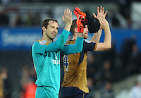 Arsenal goalkeeper Petr Cech celebrates at full time during the Barclays Premier League match between Swansea City and Arsenal played at The Liberty Stadium, Swansea on October 31st 2015