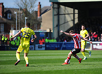 Lincoln City's Shay McCartan scores the opening goal<br /> <br /> Photographer Andrew Vaughan/CameraSport<br /> <br /> The EFL Sky Bet League Two - Lincoln City v Cheltenham Town - Saturday 13th April 2019 - Sincil Bank - Lincoln<br /> <br /> World Copyright © 2019 CameraSport. All rights reserved. 43 Linden Ave. Countesthorpe. Leicester. England. LE8 5PG - Tel: +44 (0) 116 277 4147 - admin@camerasport.com - www.camerasport.com