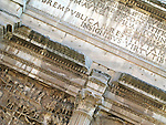 Closeup view of details on the Arch of Septimius Severus in the Roman Forum in Rome, Italy.  Dedicated in 203 A.D.