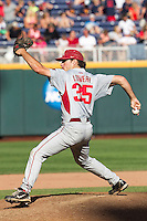 Arkansas Razorbacks pitcher Jackson Lowery (35) delivers a pitch to the plate during the NCAA College baseball World Series against the Miami Hurricanes on June 15, 2015 at TD Ameritrade Park in Omaha, Nebraska. Miami beat Arkansas 4-3. (Andrew Woolley/Four Seam Images)