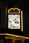"""Theatre Marquee for Diana - A True Musical Story"""" at the Longacre Theatre on January 13, 2019 in New York City."""