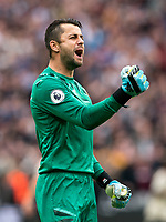 Goalkeeper Lukasz Fabianski of West Ham Utd celebrates his teams second goal during the Premier League match between West Ham United and Manchester United at the Olympic Park, London, England on 22 September 2019. Photo by Andy Rowland / PRiME Media Images.