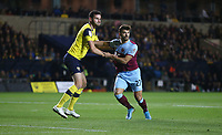 West Ham United's Albian Ajeti and Oxford United's Elliott Moore<br /> <br /> Photographer Rob Newell/CameraSport<br /> <br /> The Carabao Cup Third Round - Oxford United v West Ham United - Wednesday 25th September 2019 - Kassam Stadium - Oxford<br />  <br /> World Copyright © 2019 CameraSport. All rights reserved. 43 Linden Ave. Countesthorpe. Leicester. England. LE8 5PG - Tel: +44 (0) 116 277 4147 - admin@camerasport.com - www.camerasport.com