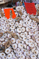 On a street market. On a street market. Garlic. Bordeaux city, Aquitaine, Gironde, France