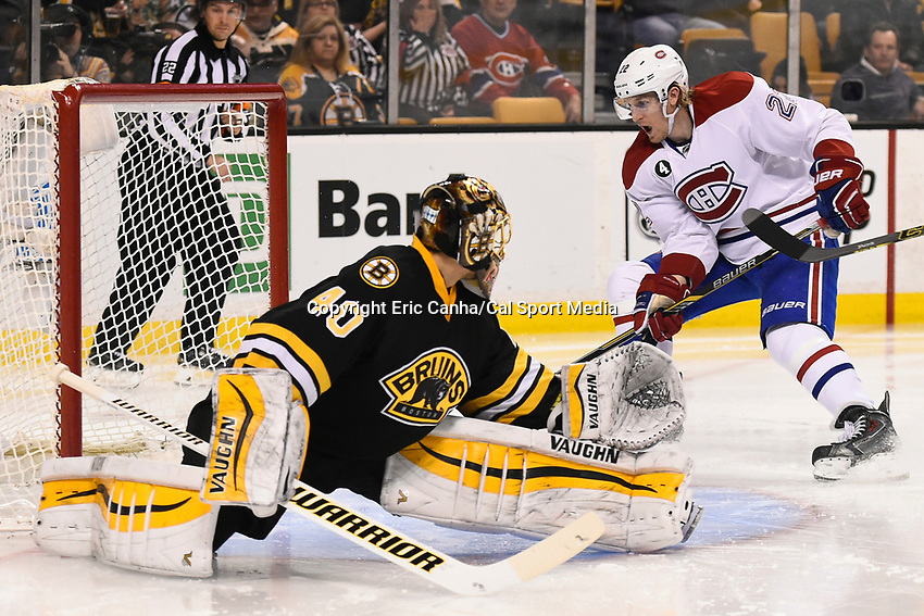 February 8, 2015 - Boston, Massachusetts, U.S. - Montreal Canadiens right wing Dale Weise (22) taps in the puck for a score during the NHL game between the Montreal Canadiens and the Boston Bruins held at TD Garden in Boston Massachusetts.