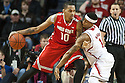 January 20, 2014: Deverell Biggs (1) of the Nebraska Cornhuskers try to get the ball from LaQuinton Ross (10) of the Ohio State Buckeyes at the Pinnacle Bank Arena, Lincoln, NE. Nebraska won in the game against Ohio State 68 to 62.