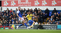 Leeds United's Kemar Roofe battles with Ipswich Town's Luke Chambers<br /> <br /> Photographer Hannah Fountain/CameraSport<br /> <br /> The EFL Sky Bet Championship - Ipswich Town v Leeds United - Sunday 5th May 2019 - Portman Road - Ipswich<br /> <br /> World Copyright © 2019 CameraSport. All rights reserved. 43 Linden Ave. Countesthorpe. Leicester. England. LE8 5PG - Tel: +44 (0) 116 277 4147 - admin@camerasport.com - www.camerasport.com