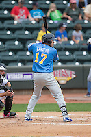 Victor Caratini (17) of the Myrtle Beach Pelicans at bat against the Winston-Salem Dash at BB&T Ballpark on May 10, 2015 in Winston-Salem, North Carolina.  The Pelicans defeated the Dash 4-3.  (Brian Westerholt/Four Seam Images)