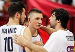 Kosarka FIBA Olympic Basketball Qualifying Tournament-FINAL<br /> Serbia v Puerto Rico<br /> Nikola Kalinic (L) Bogdan Bogdanovic and Milos Teodosic (R)<br /> Beograd, 09.07.2016.<br /> foto: Srdjan Stevanovic/Starsportphoto&copy;