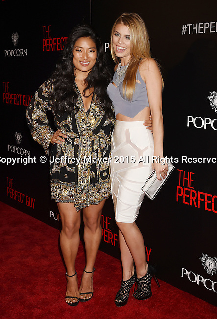 BEVERLY HILLS, CA - SEPTEMBER 02: Musician Chloe Flower (L) and actress AnnaLynne McCord arrive at the premiere of Screen Gems' 'The Perfect Guy' at The WGA Theater on September 2, 2015 in Beverly Hills, California.
