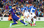 Leo Messi in action during la Liga game between FC Barcelona against RCD Espanyol at Camp Nou