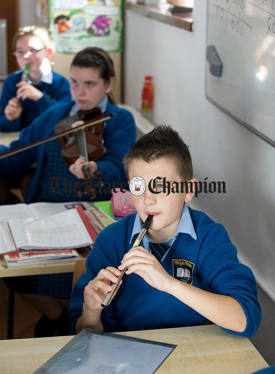 Sean Deloughery in music class  at Moveen National School. Photograph by John Kelly.