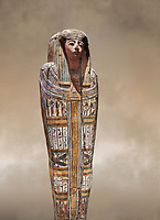"""Ancient Egyptian wooden sarcophagus - the tomb of Tagiaset, Iuefdi & Harwa circa 22nd Dynasty (943 - 716 BC.) Thebes. Egyptian Museum, Turin. <br /> <br /> Coffin lid of the eldest woman buried in the tomb, probably Tagiasettahekat, wife of Padiau. The sarcophagus decoration includes representation of strips crossed over her chest typical of """"stoa coffin"""" of the 22nd dynasty."""